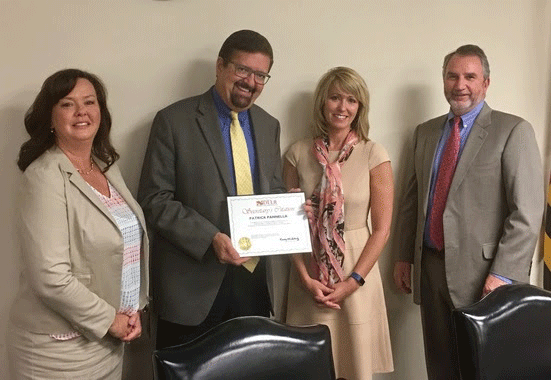 Patrick Pannella was presented with the Secretary's Citation for his consistently outstanding customer service skills. (Pictured L to R: Victoria Wilkins, Patrick Pannella, Secretary Kelly Schulz, Deputy Secretary David McGlone)
